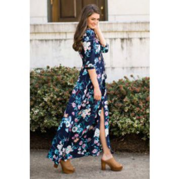 Look My Way Navy Print Maxi Dress