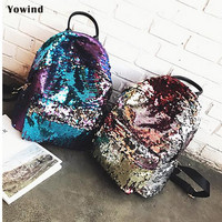 Leather Sequins Backpack Girls Large Capacity Travel Princess Bling Backpacks