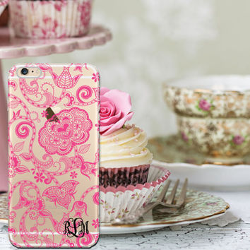 Personalized phone case, Pink Henna Iphone 6 case clear, Henna style Iphone 6 Plus case clear, Gift for Her  (1594)