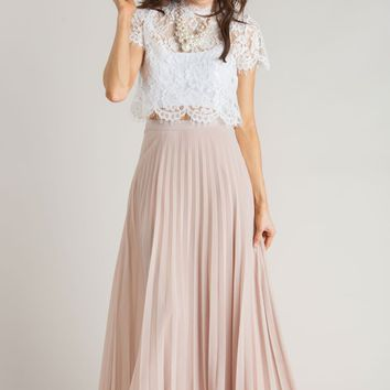 Petite Simone Beige Pleated Maxi Skirt