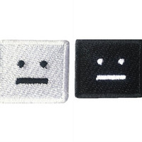 robot face sorry face Patch embroidered patch cartoon  patch cute patch embroidery patch iron on patch badge sew on patch iron on patches