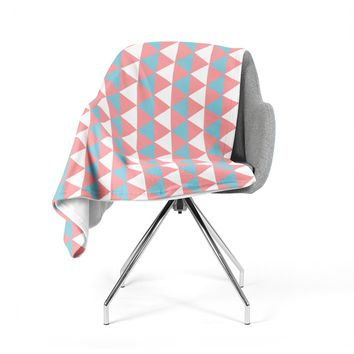"KESS Original ""Be Still"" Blue Pink Fleece Throw Blanket"