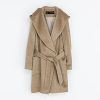 BELTED COAT WITH HOOD - Coats - Woman   ZARA United States