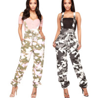 New fashion women camouflage strap jumpsuit two color