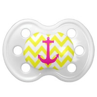 Neon Pink Nautical Anchor Yellow Chevron Pattern Baby Pacifiers from Zazzle.com