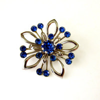 Sapphire Blue Rhinestone Brooch SilverTone Floral Open Filigree Design Vintage Collectible Gift Item 2331