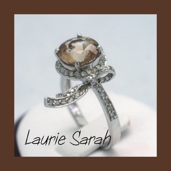 Imperial Topaz and Diamond Designer Bow Ring by LaurieSarahDesigns