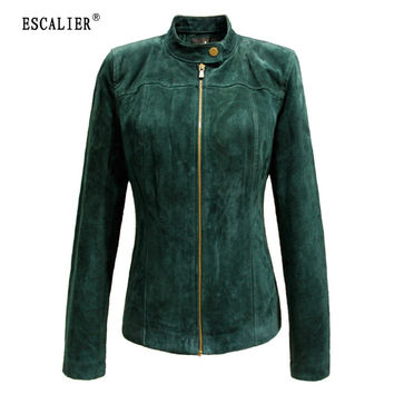 ESCALIER 2017 Winter Women's Genuine Leather Jackets Casual Plus Size Green Long Sleeve Women Basic Coats XS-5XL