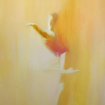 Beige canvas art - Ballerina print - Dancer poster - Mustard wall art - Dancer print of original painting