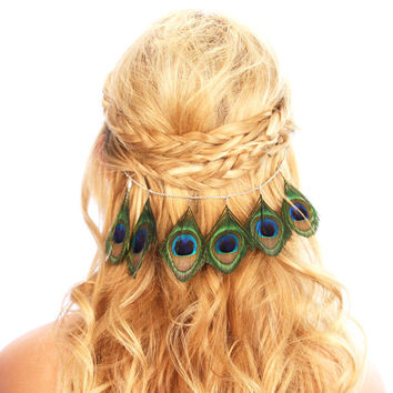 Peacock Feather Hair Grip Clip Chain Headpiece Festival Accessories
