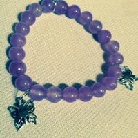 "Butterfly Charm Bracelet 7 1/3""  Purple Jade Stretchy  