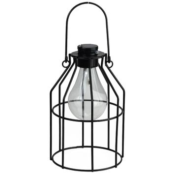 "6.25"" Black Jug-Shaped Solar Powered LED Decorative Outdoor Metal Patio Lantern"