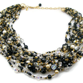 Joan Rivers Bead Necklace, Black White, Brown Pearl, Torsade Necklace, 16 Strands, Estate Jewelry, Necklace, Multi Strand, Vintage Jewelry
