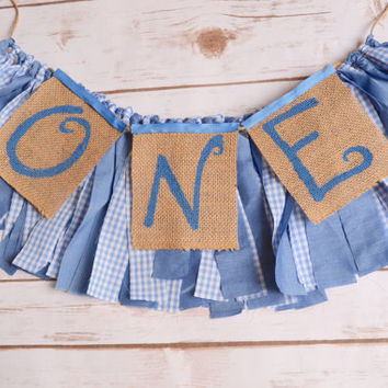 boy high chair banner - ONE banner - photo prop - 1st birthday decor - rustic birthday party - boy 1st birthday decor - gingham banner