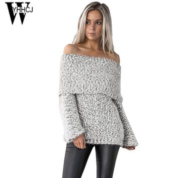 WYHHCJ 2017 warm off shoulder autumn and winter sweater long sleeve slash knit women sweater casual pullover bodycon pull femme