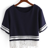 Contrast Lace Embroidered Short Sleeve T-shirt