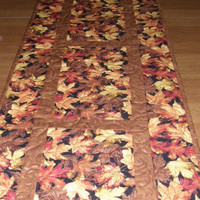 Fall Leaves Quilted Table Runner Rusty Brown Gold Red Quilt Autumn Quilted Table Topper