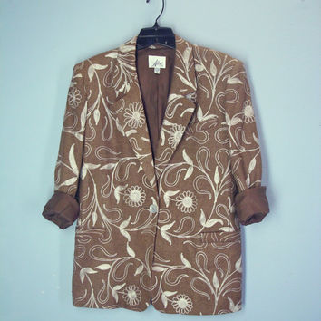 80s Slouchy Jacket / 1980s Embroidered Blazer / Silk Jacket