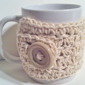 Crochet Cup Cozy - Coffee Mug Cozy - Cup Warmer - Eco Friendly- Cream - Ready to Ship - FREE Shipping