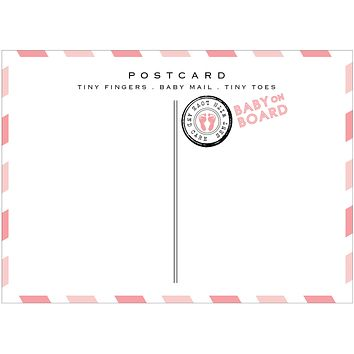Baby Girl Airmail Postcards - Baby Shower Thank You Announcements - Pack of 10