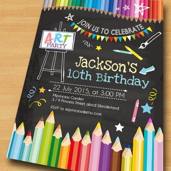 Art Birthday Party Invitations Any Age For Kids Birthday Invitation 4th 5th 6th 7th 8th 9th 10th Kids Art Fun Party Invitation Card 85