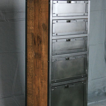 Vintage Industrial Lingerie Chest. Custom Rustic Reclaimed Wood and Steel Dresser Drawers. Bedroom Clothing and Jewelry Storage. Handmade.