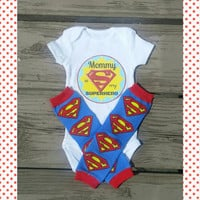 Mommy is my Superhero Outfit - Mother's Day Onesuit - Bodysuit - Leg Warmers - Super Woman - Baby Boy Baby girl - First Mother's day - Photo