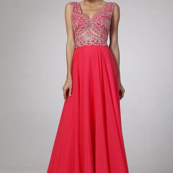 PRIMA 17-8726 Cap Sleeve Beaded Chiffon Prom Dress