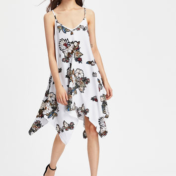 White Floral Print V-Neck Crisscross Back Asymmetrical Cami Dress
