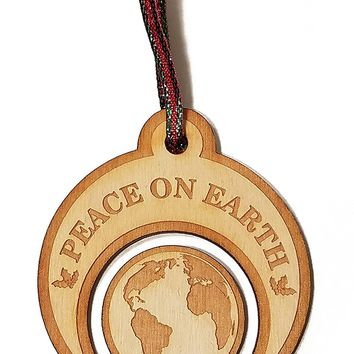 Peace on Earth Laser Engraved Wooden Christmas Tree Ornament Gift Seasonal Decoration