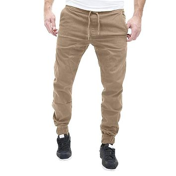 Leisure Causal Trousers Slim Fit Hip Hop Harem Pants Joggers Cotton Sweatpants Elastic Cuff