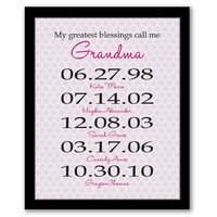My Greatest Blessings Call Me Grandma, Gift For Grandma, Mother's Day Art, Birth Dates, Dates To Remember, Grandmother Gift, Personalized