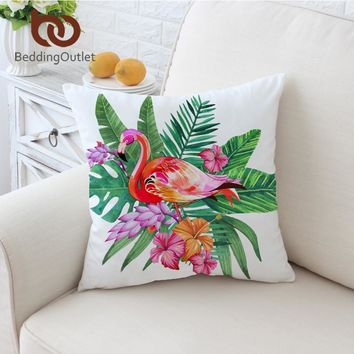 Pink Flamingo Tropical Throw Pillow Cover