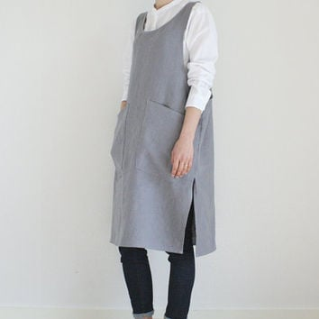 Linen Pinafore Dress/ Slit dress/ Pinafore Apron/ Work apron