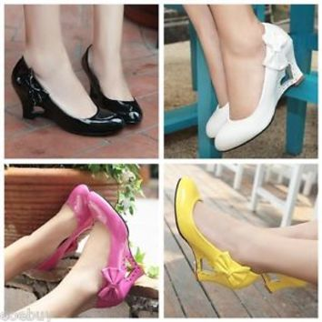 Women's Fashion Wedge Heels Wedding Shoes Bow Synthetic Leather Pumps Sz US D022