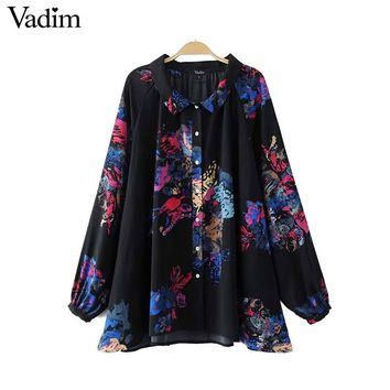 Vintage floral pleated loose shirts long sleeve peter pan collar blouse autumn female casual tops