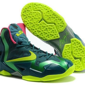 Real Lebron 11 T Rex Turquoise Lime Green Brand sneaker
