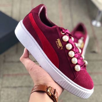 """PUMA""Platfrom Kiss Suede New Fashion Women Casual Pearl Thick Soles Sport Shoes Sneakers Burgundy I-AA-SDDSL-KHZHXMKH"