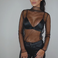 Women 2017 Fashion T-Shirt Long Sleeve Sexy Sheer Turtleneck Tops Mesh See Through Black Shirt
