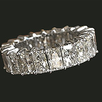7.35 ct. radiant cut diamond eternity wedding band gold