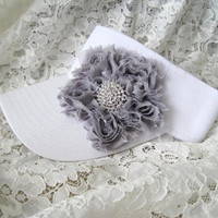 Adorable White  Golf Sun Visor with a Grey Shabby Chiffon Flower and Beautiful Rhinestone Accent Golf Accessories