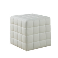 White Leather-Look Ottoman