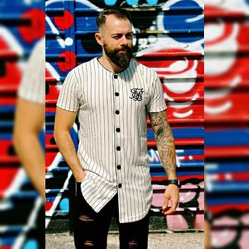 Summer fashion Mens Tees Fashion Streetwear Hip Hop sik silk baseball jersey striped shirt