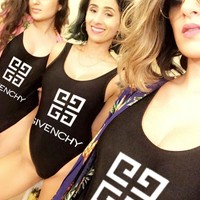 Givenchy Women New Fashionable Logo Print Vest Style U Collar Swimsuit One Piece Bikini Bathing Black