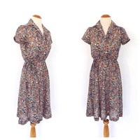Vintage Retro 1970s Sweet Floral Dress Shirt Dress Boho Flirty Button Up Day Dress Prairie Hipster Size small 70s Folk Indie Hippie Dress