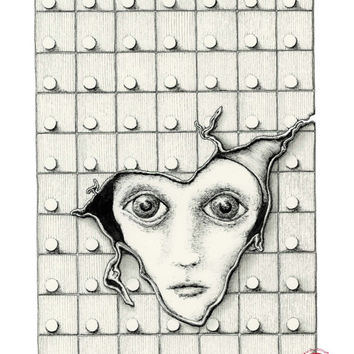 IN HIDING: Surreal pen and ink illustration, 8x10 Limited Edition Fine Art Print, black and white drawing detailed background and portrait