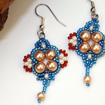 Blue and orange seed bead drop earrings, OOAK bead woven glass pearls and seed beads