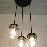 Vintage Clear Canning Jar CHANDELIER LIGHTS Created by LampGoods