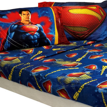 10 DC Comics Superman Man of Steel Twin Bed Sheet Sets: Superman Sheet Set Super Steel Bedding Accessories