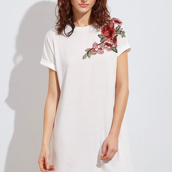 White A Line Embroidered Flower Applique Dress